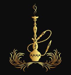 golden hookah silhouette vector image vector image