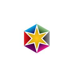 hexa star logo vector image