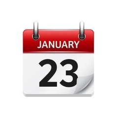 January 23 flat daily calendar icon Date vector image