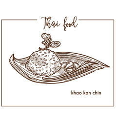 khao kan chin served on leaf from thai food vector image