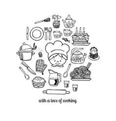 Kitchen tools and cook sketch icons set vector