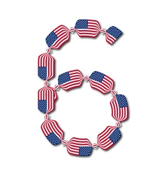 Number 6 made of USA flags in form of candies vector image