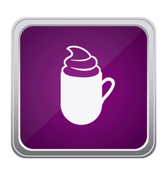 Purple emblem cuppa coffee with cream icon vector
