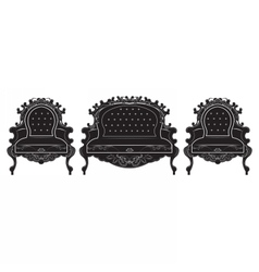 Rich baroque upholstery furniture set vector