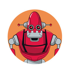 Robot automation circle icon vector