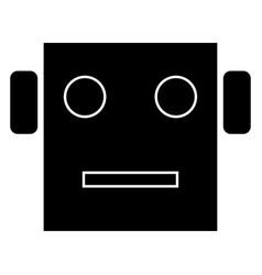 Robot head the black color icon vector