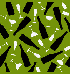 Seamless pattern of champagne and glasses vector