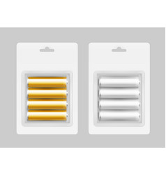 set of four gray yellow alkaline aa batteries vector image vector image