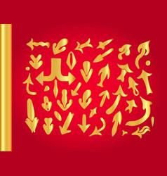 Set of golden arrows vector