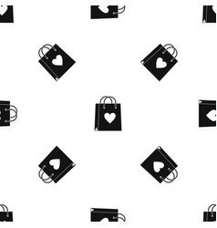 shopping bag pattern seamless black vector image vector image