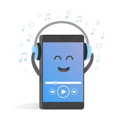 Smartphone concept of listening to music on vector