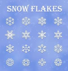 snow flakes set vector image