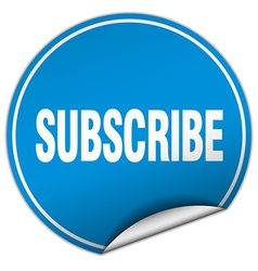 Subscribe round blue sticker isolated on white vector