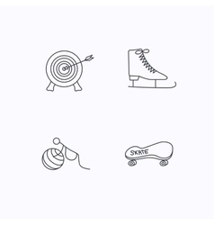 Target ice skates and skateboard icons vector image vector image