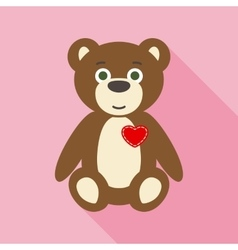 Valentine Teddy Bear in Flat Style with Long vector image