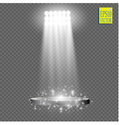 White spotlight light effect on transparent vector