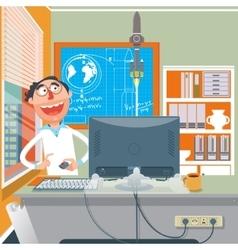 Scientist performing an experiment cartoon vector