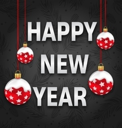 Happy New Year Invitation with Red Snowing Balls vector image