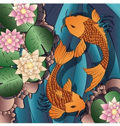Carp koi fish swimming in a pond with water lilies vector