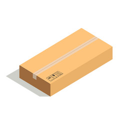 closed paper cardboard box isolated on white vector image