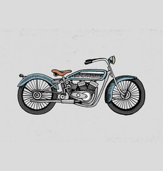 motorcycle or motorbike engraved vector image