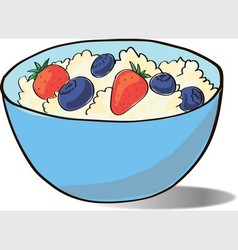 Cottage cheese in a blue cup vector