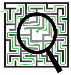 Maze puzzle magnifying glass vector