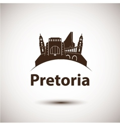 Pretoria south africa city skyline silhouette vector