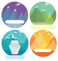 Set of mountain cards vector