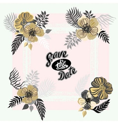 Vintage inspired summer tropical flowers and vector