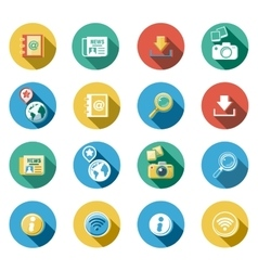 Internet and web flat icons set vector