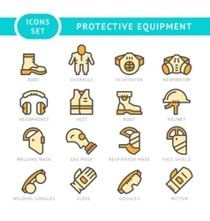 Set line icons of protecting equipment vector