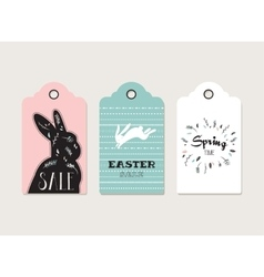 Easter tags labels with cute bunny and flowers vector