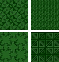 Green seamless triangle pattern background set vector
