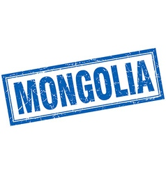 Mongolia blue square grunge stamp on white vector