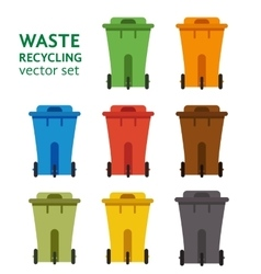 Waste sorting garbage bin set vector