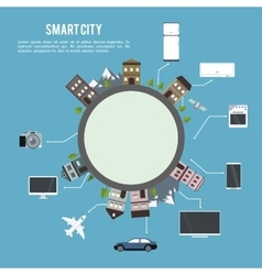 Smart city and icon set technology and internet vector