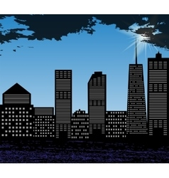 Silhouette of big city on background of bright vector