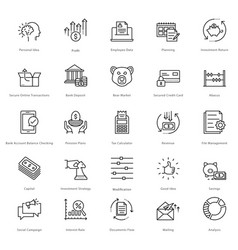 banking and finance line icons 20 vector image vector image