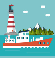 Boat lighthouse sea design vector