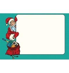 cartoon Santa Claus character showing a blank sign vector image