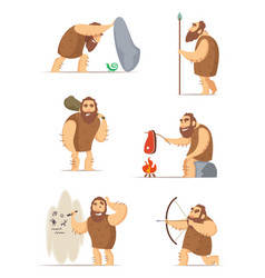 Caveman and different action poses vector