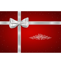 Christmas background Gift bow and Shiny ribbon vector image vector image