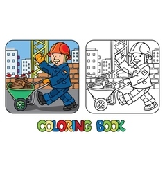 Coloring book of funny construction worker vector