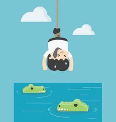 Concept businessman is prey to crocodiles victims vector
