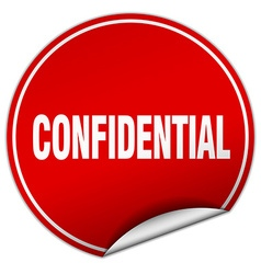 Confidential round red sticker isolated on white vector