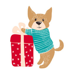 Cute dog in warm winter sweater with gift vector