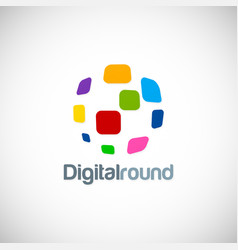 digital round technology logo vector image