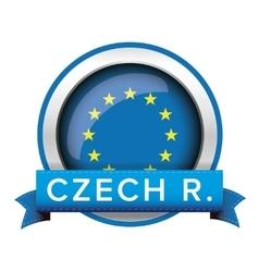 Eu flag button with czech ribbon vector