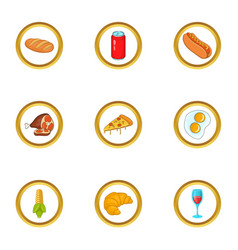 fast food icons set cartoon style vector image vector image